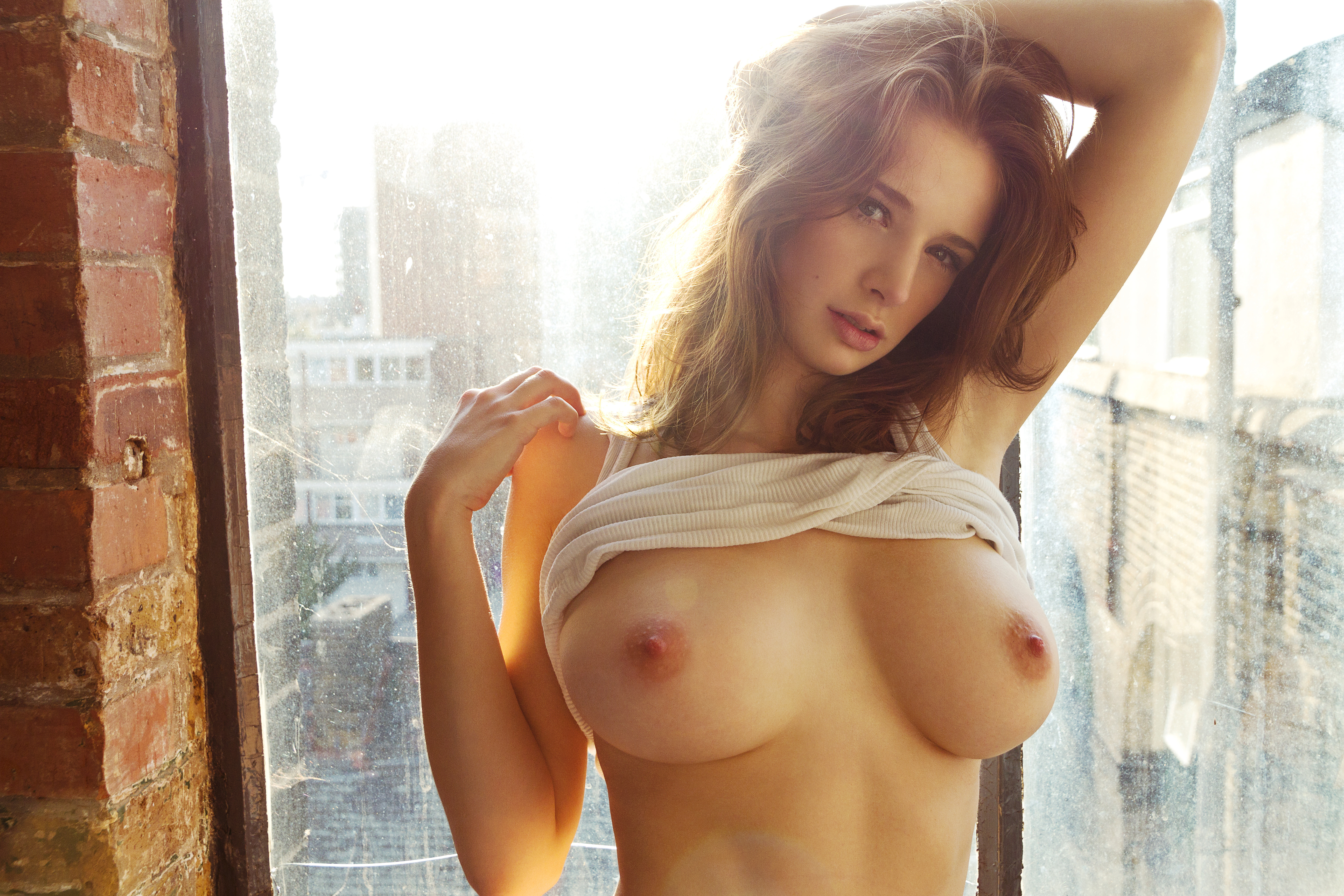 vinna reed and lili lou all the way inside #EmilyShaw #topless #brunette #beauty #standing #bywindow #shirtpulledup #handonhead #sunlit #cityview #sexy